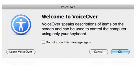 VoiceOver dialog in Mac OS