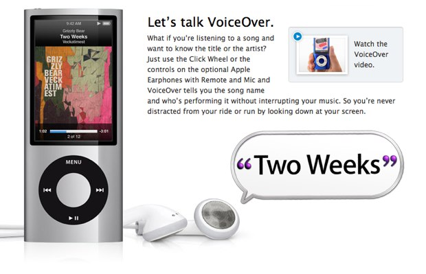 VoiceOver on iPod nano (Source: apple.com/ipodnano/features/voiceover.html)