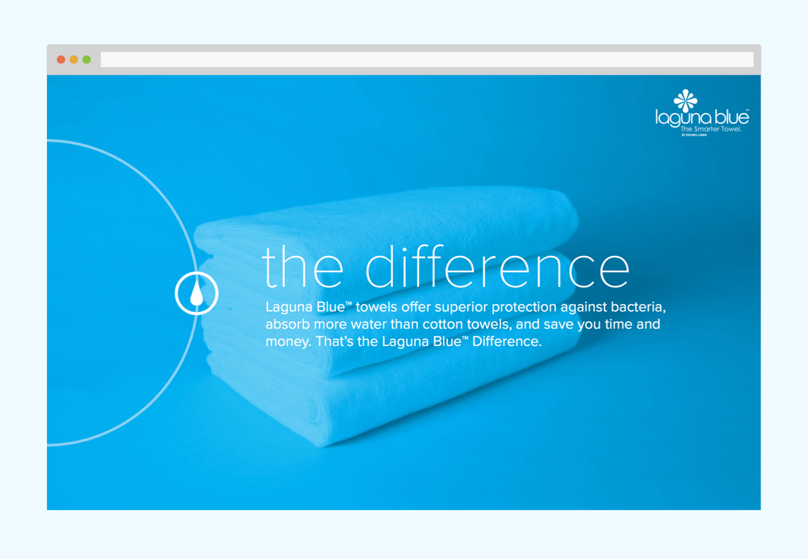 Intro slide - The difference overlaying a blue multiplied product photo