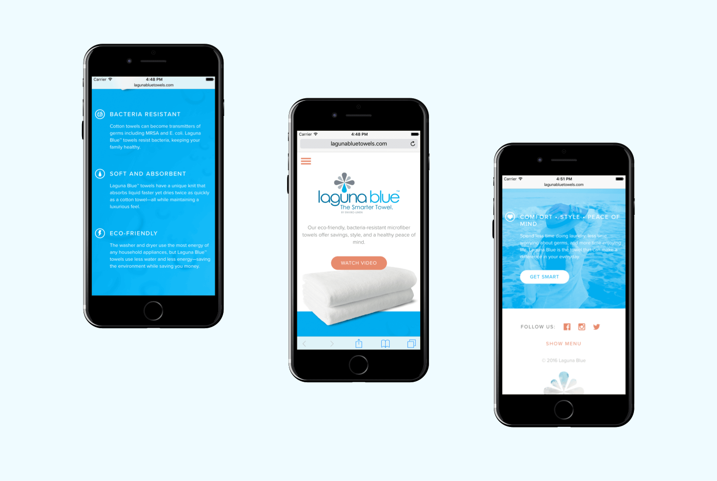 Three phone mockups showing different sections of the homepage