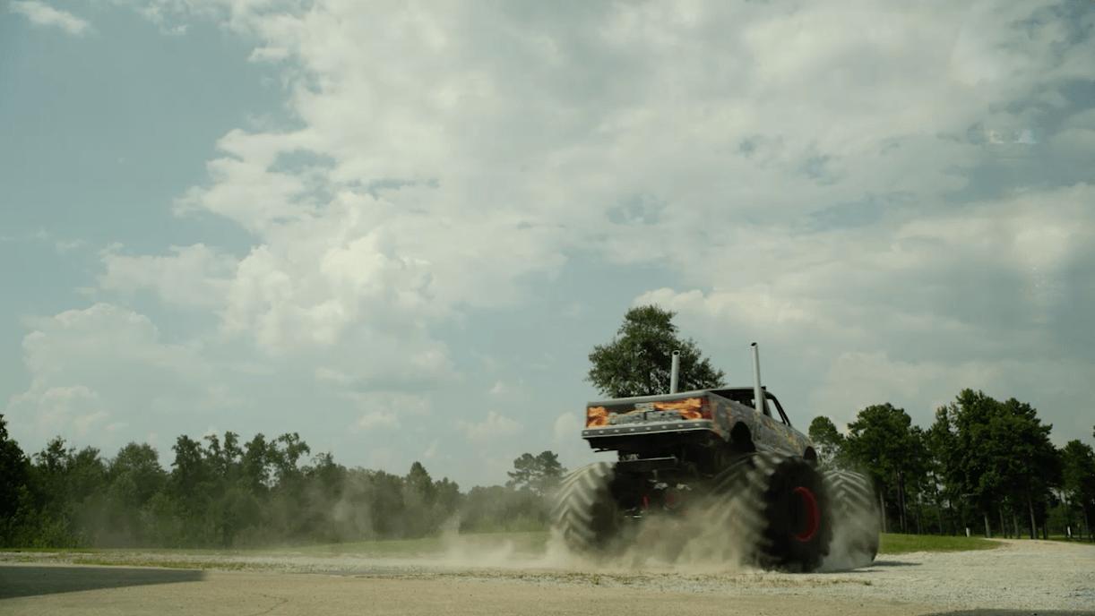 Monster truck spinning
